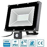 Oeegoo 50W LED Strahler mit Bewegungsmelder IP65 Fluter Sensor Scheinwerfer 5000lm Außenstrahler, Ideale Außenbeleuchtung für Garten, Garage, Sportplatz, Tiefgarage Kaltweiß 6000K