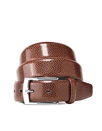 Vincenzo Boretti Cinturón hombre de piel con hebilla plateada, superficie de piel de serpiente coñac 110 cm