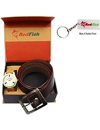RedFish Men's Stylish Watch And Brown Belt Combo - (RDF-1001-AY)