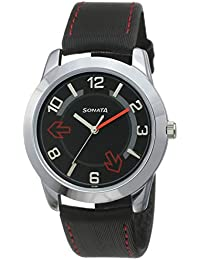 Sonata Yuva Analog Black Dial Men's Watch -NK7924SL04