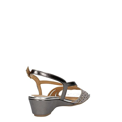 08755 NERO Scarpa donna Melluso sandalo zeppa pelle made in Italy Argento