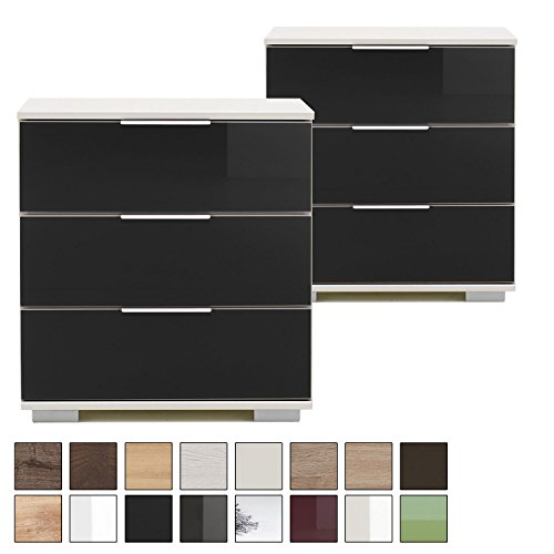 Wimex NIGO Nachttisch 2er Set für Boxspringbett, 58cm hoch, drei Schubladen, Nachttisch weiß, Glas-Front schwarz, modern (Moderne Schubladen 3)
