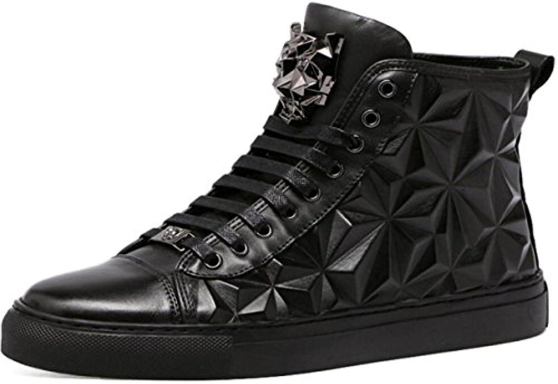 DHFUD Otoño E Invierno Zapatos Altos Hombres EN Relieve Zapatos De Hombre De Cuero De Hombres Zapatos Casual Británicos...