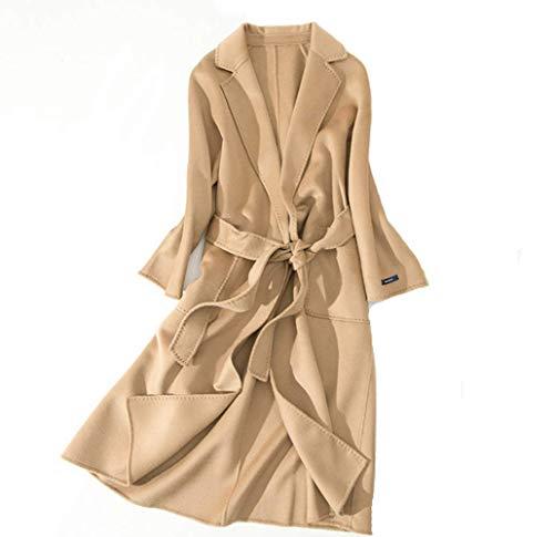 ZHANGZHIYUA Frauen Plus Größe Herbst Winter Einfache Wolle Maxi Langen Mantel Weibliche Robe Oberbekleidung,B,S (Plus Größe Winter Mantel Wolle)