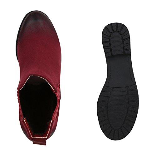 Stiefelparadies - Stivali Chelsea Donna rosso opaco