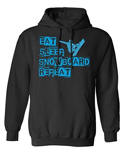 Eat Sleep Snowboard Repeat Scelta di con cappuccio o un maglione Uomo Donna Unisex (Hoodie) Black