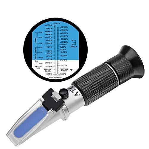 HHTEC - Refractómetro (para anticongelante Protección contra Heladas Medio batería líquido limpiador,...