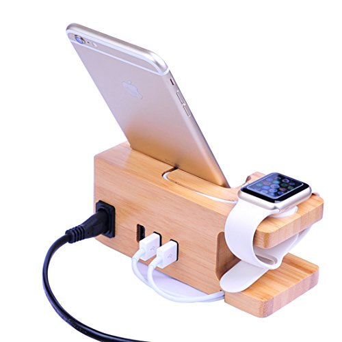 Apple Watch Ständer, 15W 3A IPUTY iWatch Halterung Stehen Veranstalter mit Stromadapter, Desktop Bambus Holz Dock Halter für iWatch & Smartphones, Europäischer Stecker (Bamboo mit Netzkabel)