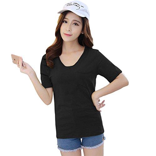 T-shirt Casual Manches Courtes Col rond Uni Chemisier pour Femme Noir