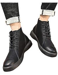 Mymyguoe Botines de tacón Alto con Cordones y Botines de Estilo Vintage Zapatos para Hombre Zapatillas