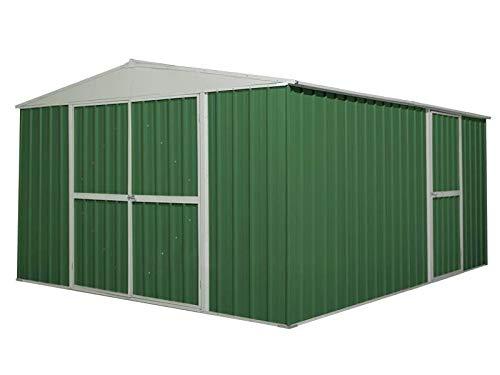 Casetta Box Da Giardino in Lamiera Verde Per Deposito Attrezzi 360x430x210cm Enaudi