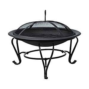 Outsunny 56 cm Diameter Round Outdoor Metal Fire Pit Wood Burning Heater Mesh Lid Garden Stove Patio Brazier with Poker - Black