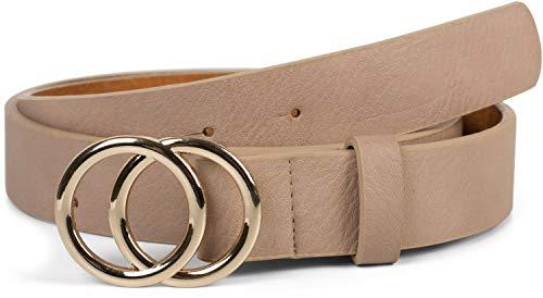 styleBREAKER Damen Gürtel Unifarben mit Ringschnalle, Hüftgürtel, Taillengürtel 03010093, Größe:100cm, Farbe:Beige-Gold