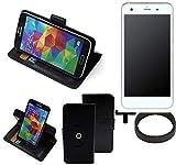 K-S-Trade® Hülle Schutzhülle Case Für -Vestel V3 5570- + Bumper Handyhülle Flipcase Smartphone Cover Handy Schutz Tasche Walletcase Schwarz (1x)