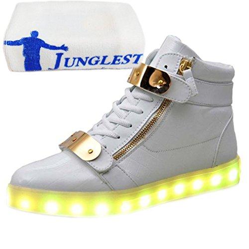 [Présents:petite serviette]JUNGLEST® Baskets LED Montantes mentale Boucle Chaussures unisexe montantes Noir Blanc Chaussures LED Adulte (Choisissez une t Blanc