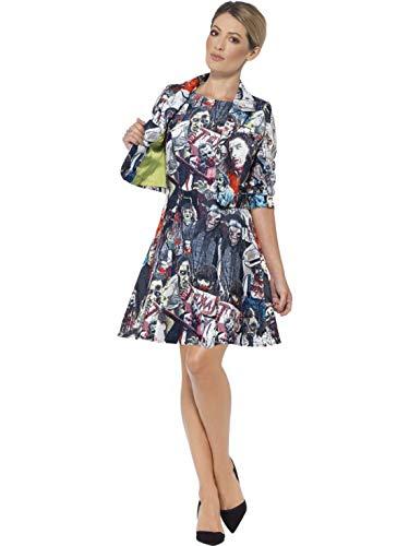 costumebakery - Damen Frauen Kostüm Zombie Horror Anzug Deluxe mit Kleid und Jacke, Gjost Dress with Jacket, perfekt für Halloween Karneval und Fasching, L, Grau