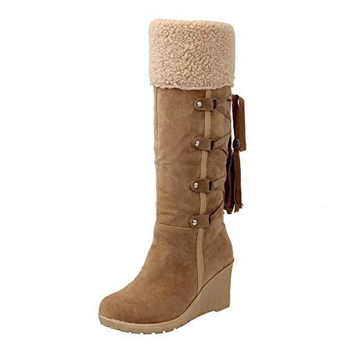 BaZhaHei-Zapatillas, Mujer después de lijar con borlas Botas Altas Mangas Cuñas Zapatos de Nieve Calzado de Mujer después de lijar con borlas Botas Altas Mangas cuñas clásico de la Moda Botas Mujer