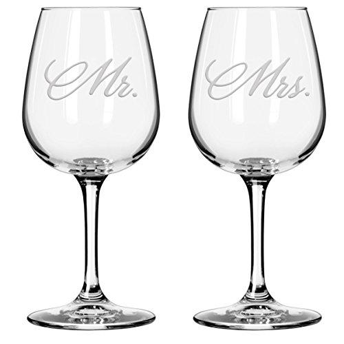 National Ätzen Herr und Frau Wein Gläser, Set von 2 12.5 ounce Mr and Mrs Wine Glasses