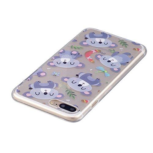 Coque iPhone 7 Plus (5.5 pouce) , Mignon Panda Transparente Case TPU Slim Souple Étui de Protection Flexible Soft Silicone Cover Anti Choc Ultra Mince Couverture Motif Design Bumper Caoutchouc Gel Anf Violet Koala