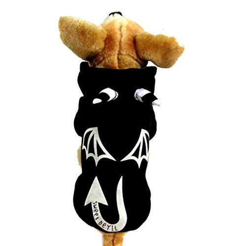 Ghost Kostüm Ein Macht - POPETPOP Halloween Hund Outfits Ghost Pattern Hund Kleidung leuchtende Hoodies Kostüm Outfits warme Sweatshirt Hund Bekleidung für Halloween-Party - schwarz m