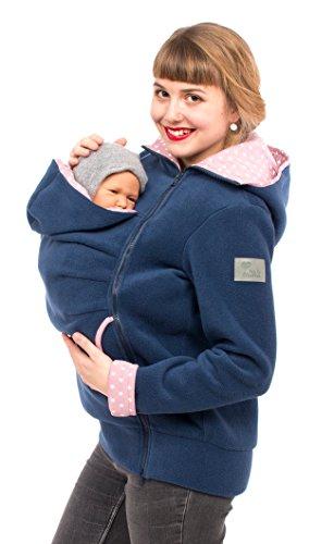 Viva la Mama Känguru Klassiker Tragejacke Fleece für Damen Jacke mit Trageeinsatz Winter - AHOI blau Sterne rosa - XXL -