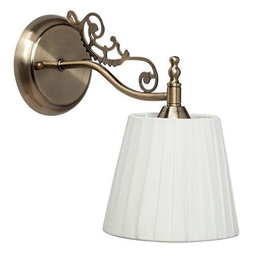 Applique classico colore ottone metallo paralume bianco tessuto a phiege in stile antico 1-lamp. E14 1x60W 230V
