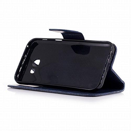 Custodia Samsung Galaxy A5 (2017) Cover, Ougger Farfalla Stampa Portafoglio PU Pelle Magnetico Morbido Silicone Flip Bumper Protettivo Gomma Shell Borsa Custodie con Slot per Schede (Grigio) Blu Scuro