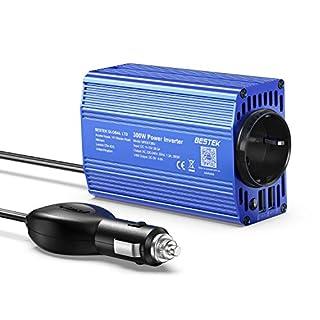 Spannungswandler 12v 230v / 300W Wechselrichter/BESTEK Stromwandler 12 auf 230 Inverter/mit Tüv Zertifiziert und 2 USB Anschlüsse inkl. Kfz Zigarettenanzünder Stecker,Blau
