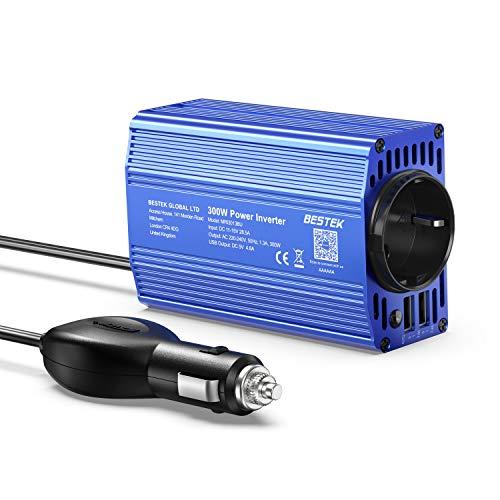 BESTEK Convertisseur 12V 220V 230V 300W Onduleur de Voiture avec 1 AC Prise et 2 Ports USB pour Ipad, Iphone, Tablette Voiture Camion et Plus-Métal Bleu