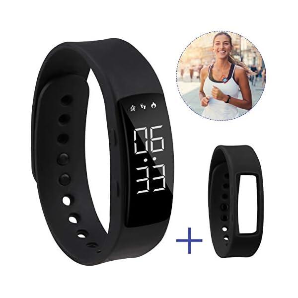Hootracker Pulsera Actividad Fitness Smart Watch Tracker Contador de Pasos, Contador de Calorías,Distancia niños Mujer Hombre - Non-Bluetooth Non-App 1