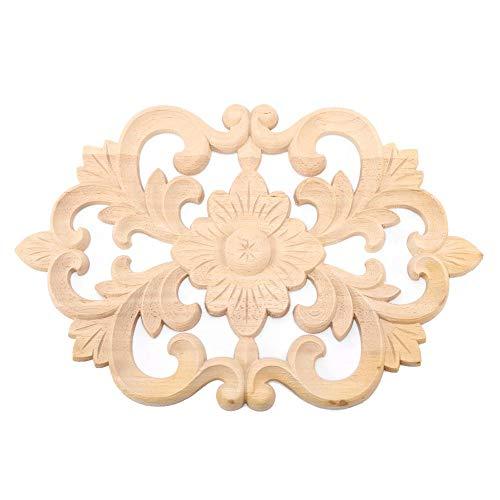 Pomya Möbel Applique, 1Pc Holz geschnitzt Onlay natürliche und umweltfreundliche Applique unlackierte Möbel für Home Door Cabinet Decoration(30x19cm) -