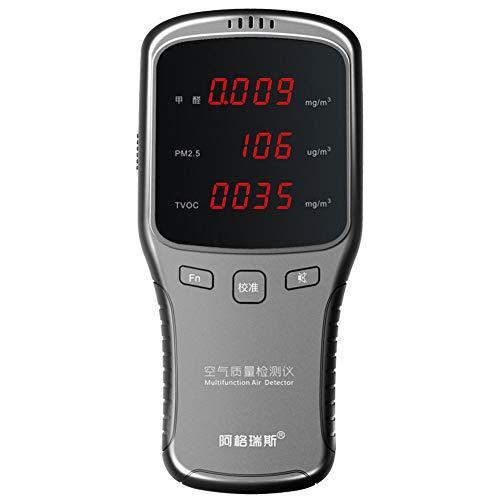 DJG Luftqualitäts-Verschmutzungs-Monitor, Gas-Analysator-Qualitätsüberwachung tragbare Digital-LED-Anzeigen-Multifunktionstest PM2.5 Formaldehyd-Detektor-Haus