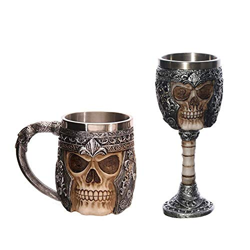 Cranky Orange 1 Resin Piece skull Jug Pitcher oil skull Skull Warrior Viking Jug skull Beer Mug Gothic Helmet drinkware Vessel