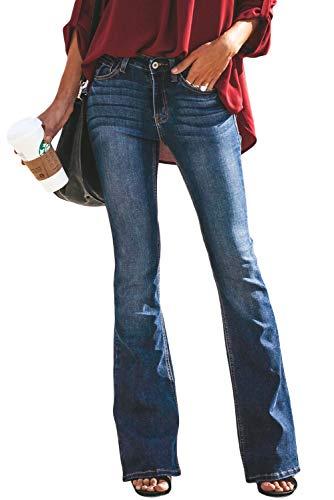 Aleumdr jeans donna classici svasati jeans donna vita alta vesbilita normale jeans denim donna a zampa - blu