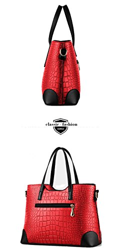 EssVita Tasche Damen Elegant Leder Handtaschen Set Schulter Beuteltote Schultaschen Schwarz Weinrot + Schwarz