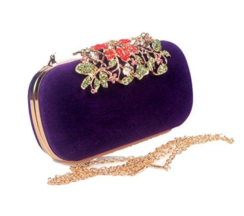 Donna Cerniera Frizione Fibbia Retrò Azienda Fiore Borsa Da Sera Borsa A Mano Vestito Bag Purple