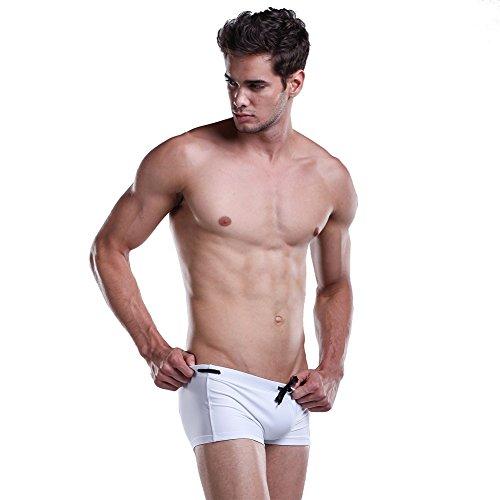 Lantra Besa Herren Kurze Badehose Badeshorts Trunks Bottom Shorts für Sommer Schwimmen mit Elasthan Eng Elastisch Hochwertige Strand Bekleidung Typ 8 Weiß