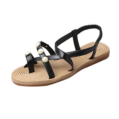 Ouneed®Femme Sandale Plate Cuir Doux Perle Borde Thongs Noir