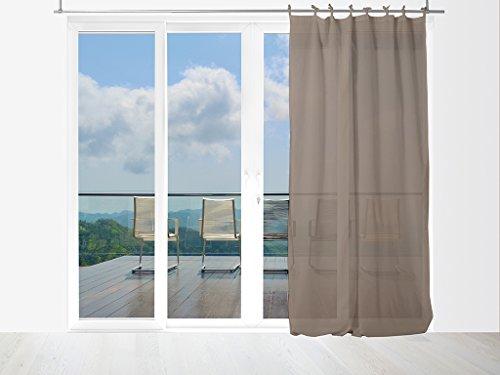 Tenda in voile di cotone conlaccetti 140x240 cm panama tortora