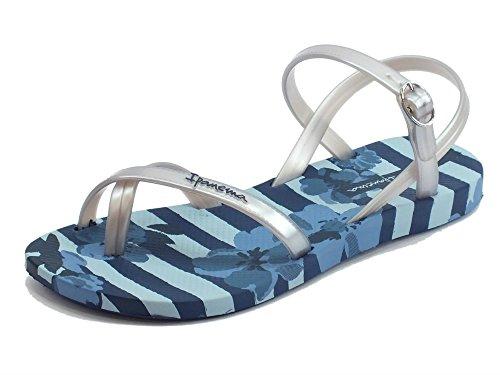 Ipanema Sandali Fashion Sand per Donna in caucciù Blu e Argento Zeppa Bassa (Taglia 37)