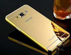 Droit Luxury Metal Bumper + Acrylic Mirror Back Cover Case for Samsung J7 2016 By Droit Store + Flexible Portable Thumb OK Stand by Droit Store.