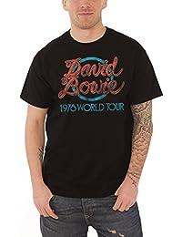 David Bowie T Shirt 1978 World Tour nouveau officiel Vintage Homme Noir