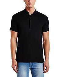 Peter England Mens Round Neck Cotton T-Shirt (8907609083385_CKC31701237_Large_Dark Grey with Black)