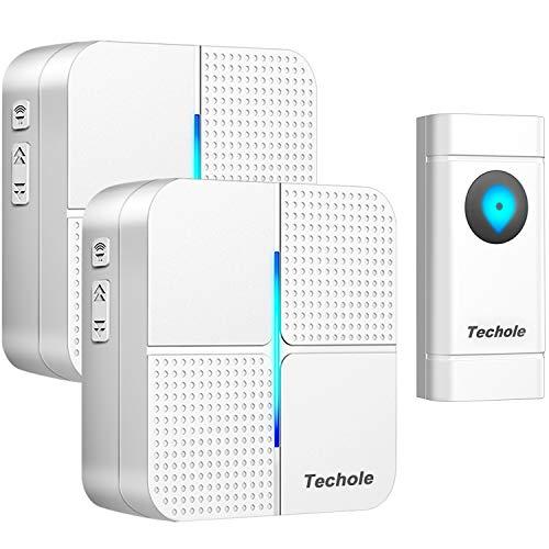 Campanello Wireless, Techole Campanelli Senza Fili da Esterno Impermeabile IP55, 300M di Distanza di Ricezione, 52 Suonerie con 4 Volumi Selezionabili, Indicatori LED (1xTrasmettitore e 2X Ricevitore)