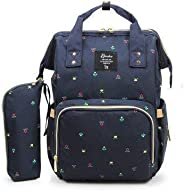 Arkmiido Diaper Backpack Large Capacity Nappy Bag Multi-Function Travel Mummy Bag Wide Open Design and Waterproof Fabric Bag with Pouch (Dark Blue)