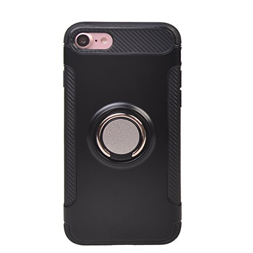 "Coque iPhone 7 ( 4.7""),COOLKE Haute qualité Etui Housse Robuste Protection de Double Couche d'Armure 360 Degrés Rotation Ring Holder Stand Protection case cover pour Apple iPhone 7 ( 4.7"") - Noir Noir"