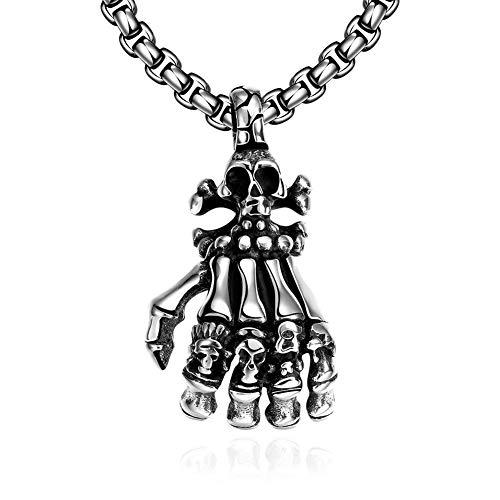 YEBENI Herren Gothic Edelstahl poliert Schädel Kopf Skelett Hand Anhänger Kette Halskette