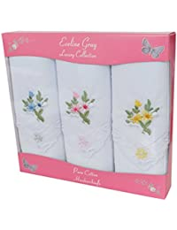 3 mouchoirs femme empaquetés bordure colorée avec coins en dentelle 100% coton