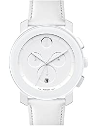 Movado Bold 3600011 Swiss White Leather Strap Silver Chronograph Dial Unisex Watch