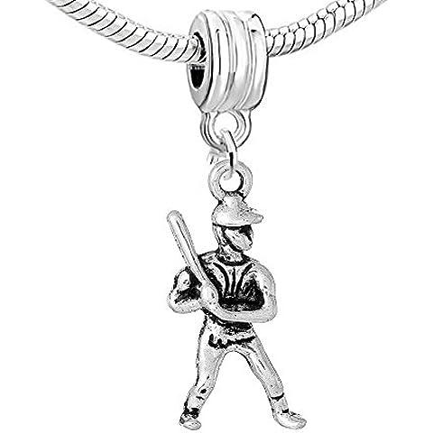 Sexy Sparkles jugador de béisbol encanto Bead compatible para la mayoría de pulseras de cadena de serpiente de la mujer